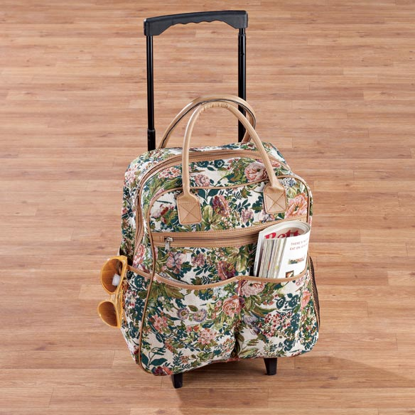 Floral Tapestry Rolling Tote