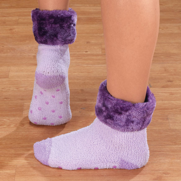 Fur Cuff Chenille Slipper Socks with Grippers, 1 Pair