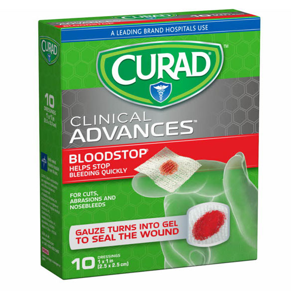 "Curad® Blood Stop Gauze Packets 1""x 1"", 10 Count"