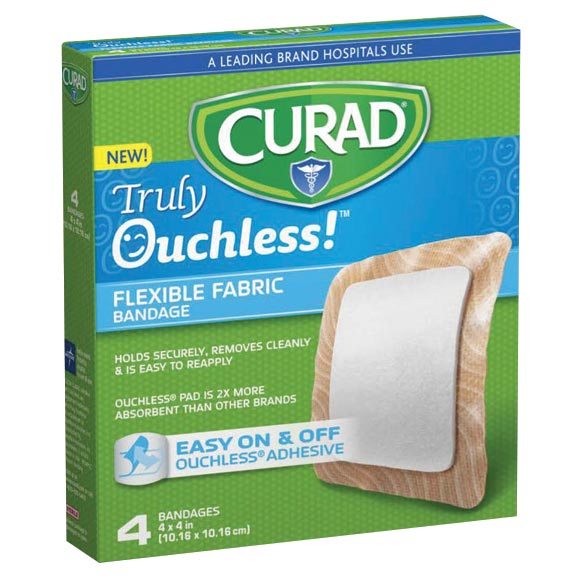 "Curad® Truly Ouchless!™ 4"" x 4"" Bandages, 4 Count"