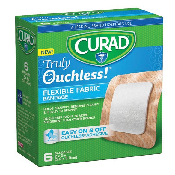 "Curad® Truly Ouchless!™ 2"" x 2"" Bandages, 6 Count"