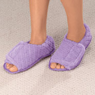 Comfort Footwear - Quilted Chenille Adjustable Toe Slippers