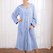 Apparel - Snap-Front Fleece Robe with Pockets by Sawyer Creek