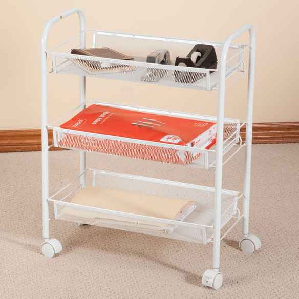3 Tier Mesh Wire Rolling Cart - View 1