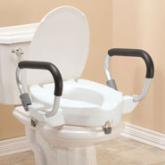 "Toilet Aids - 4"" Toilet Seat with Arms and Lid"
