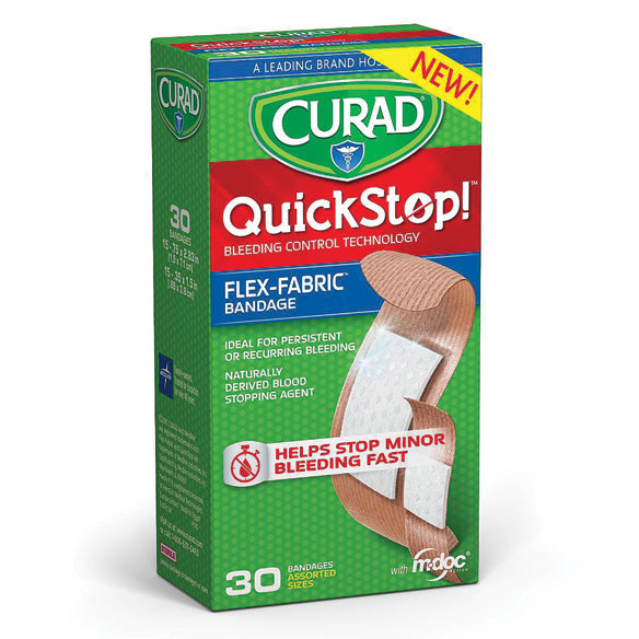 Curad® QuickStop!® Bandages Assorted Sizes, 30 count