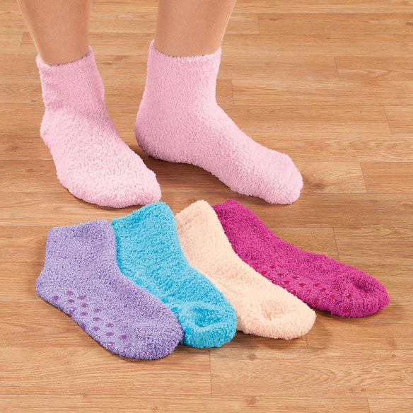 Assorted Plush Socks with Grippers, 5 Pair