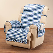 Home Comforts - Gingham Recliner Protector with Straps & Pockets