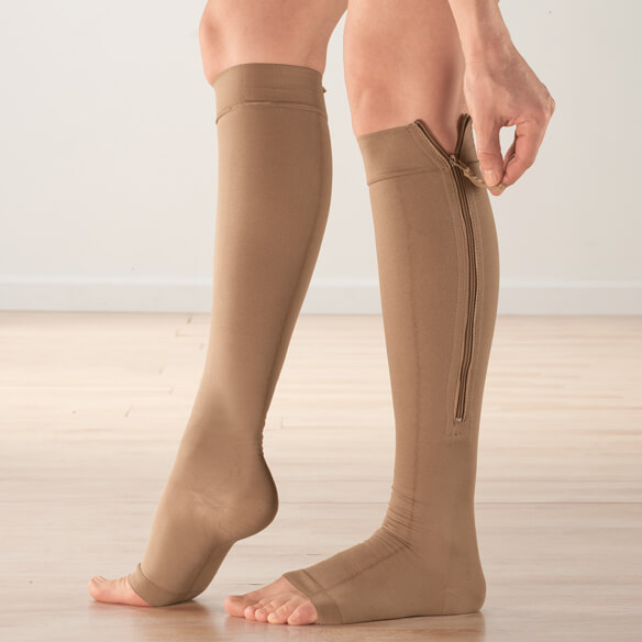 Silver Steps™ EZ Zip Open-Toe Compression Socks, 20–30 mmHg
