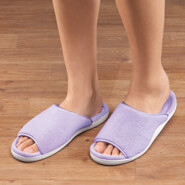 New - Open-Toe Terry Slipper