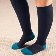 Clearance - Celeste Stein Ribbed Two Tone Compression Socks, 15–20 mmHg