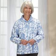 Apparel - Blue and White Patterned Bed Jacket