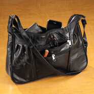 New - Black Patch Leather Handbag