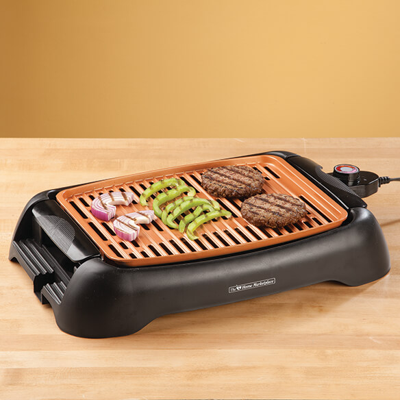"NonStick Ceramic Copper 13"" Countertop Electric Grill by HMP - View 1"
