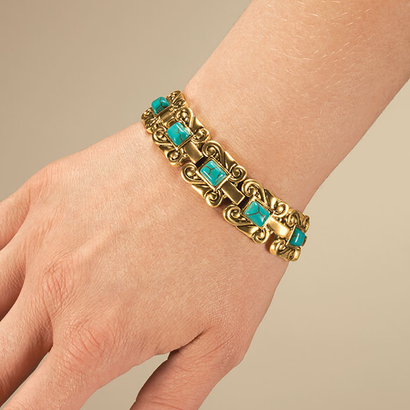 Goldtone Magnetic Turquoise Bracelet - View 1