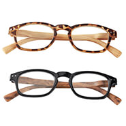 Reading Aids - Reading Glasses with Wood Grain Bows, 2 Pair