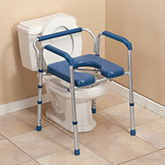 Bathroom - Folding Commode with Padded Seat