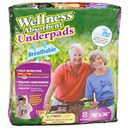 Incontinence - Wellness® Absorbent BREATHABLE Underpad 30x36 Pack of 8