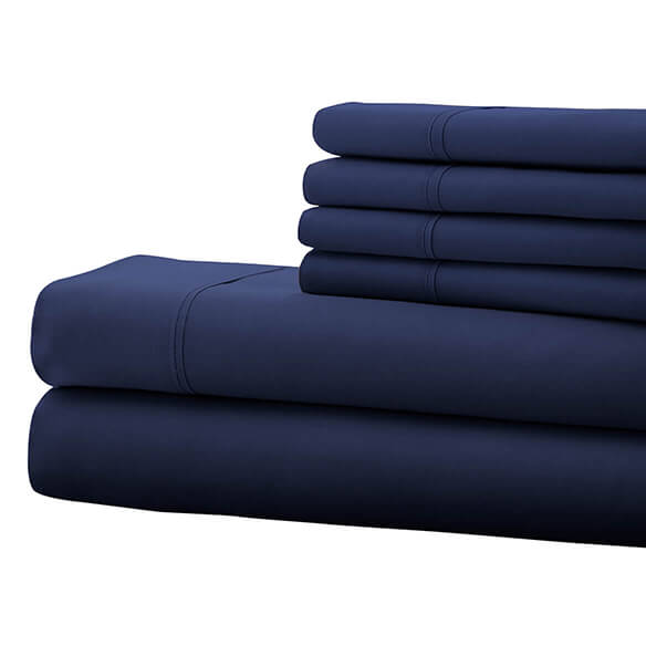 Hotel 5th Ave. 90GSM 6pc Microfiber Sheets, Navy Blue