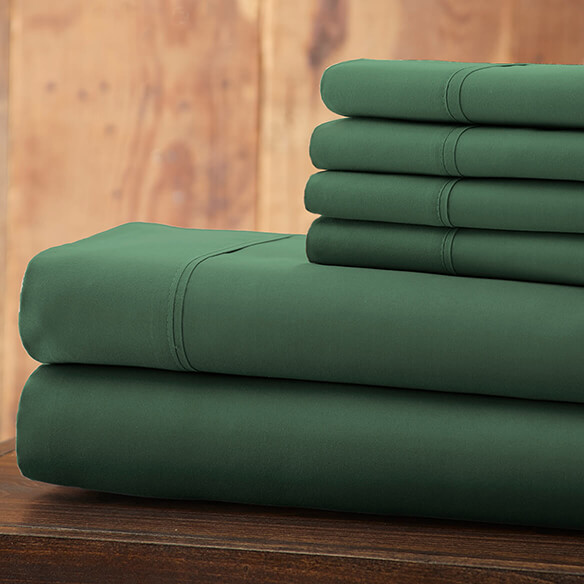 Hotel 5th Ave Solid Color Microfiber Sheet Set, Hunter Green