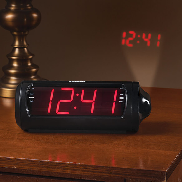 Jumbo Digit Projection Clock/Radio with USB Charging - View 1