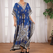 Apparel - Blue Mosaic Drawstring Caftan