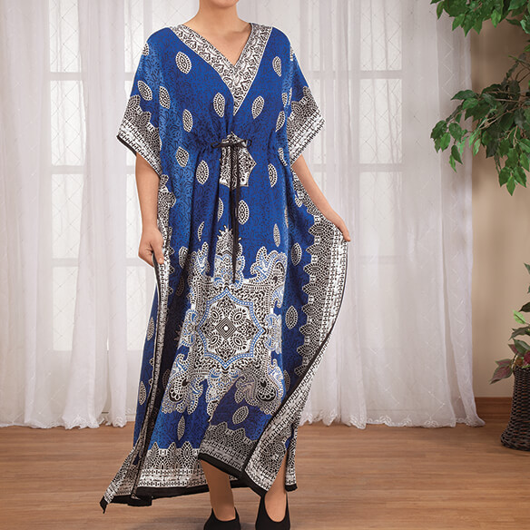 Blue Mosaic Drawstring Caftan - View 1