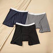 Incontinence Briefs & Panties - Men's 10 oz. Boxer Briefs, 3-Pack Assorted Colors