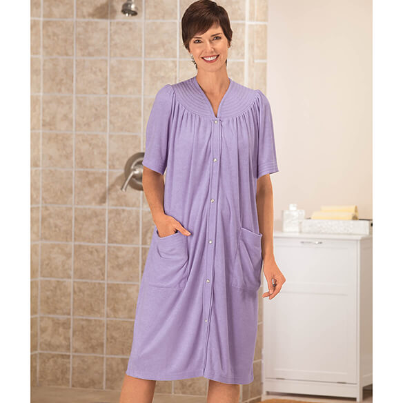 Short Sleeve Terry Snap Robe