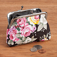 New - Vintage Rose Cloth Coin Purse