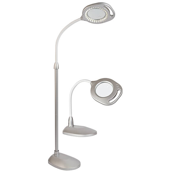 2-in-1 LED & Magnifier Floor and Table Lamp