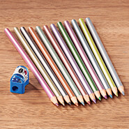 Hobbies & Books - 12 Metallic Colored Pencils with Sharpener