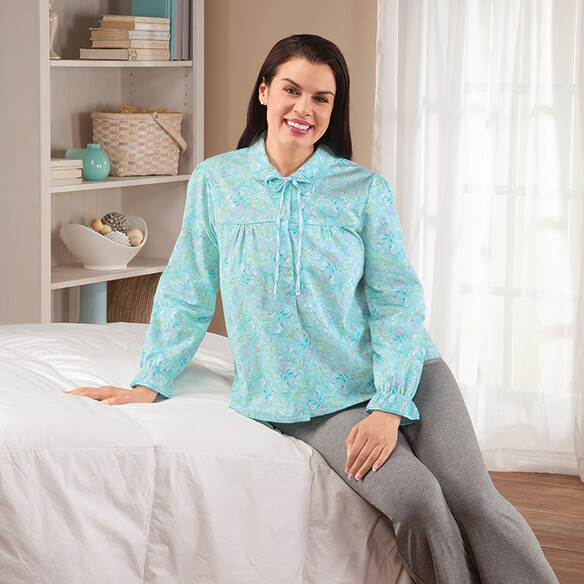 Flannel Floral Bed Jacket - View 1